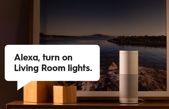 Bubble Text Asking Alexa To Turn On Living Room Lights
