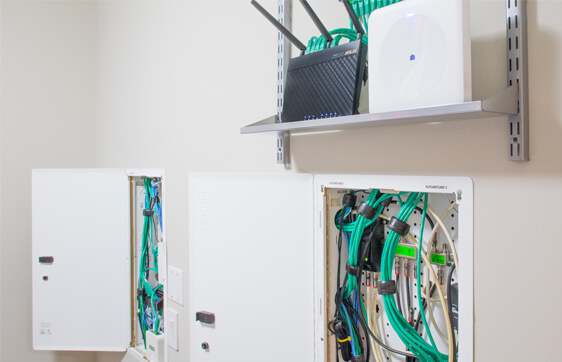 Home Internet Wall Cabinet With Ethernet Wires